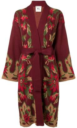 Semi-Couture Semicouture belted floral cardi-coat