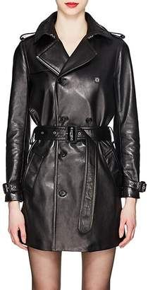 Saint Laurent Women's Leather Double-Breasted Trench Coat - Black