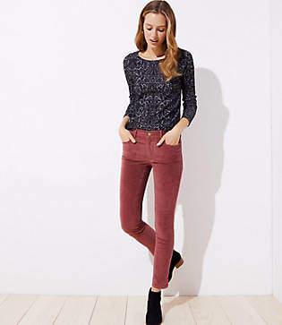 LOFT Petite Modern Velvet Slit Skinny Jeans in Elegant Rose