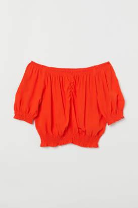 H&M Short Off-the-shoulder Blouse - Orange