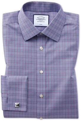 Charles Tyrwhitt Slim Fit Non-Iron Berry and Navy Prince Of Wales Check Cotton Dress Shirt French Cuff Size 14.5/33