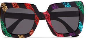 c9bdc9fed9 Gucci Square-frame Glittered Acetate Sunglasses - Black