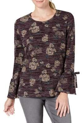 Style&Co. Style & Co. Petite Floral Bell-Sleeve Top