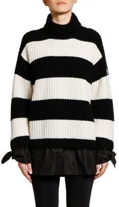 80c7df74e84f94 Moncler Striped Colorblock Knit Sweater w/ Tie Cuffs