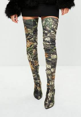 Missguided Khaki Leaf Printed Thigh High Pointed Shoes