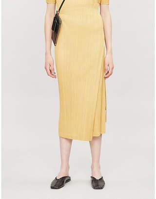 Pleats Please Issey Miyake High-waist pleated woven midi skirt