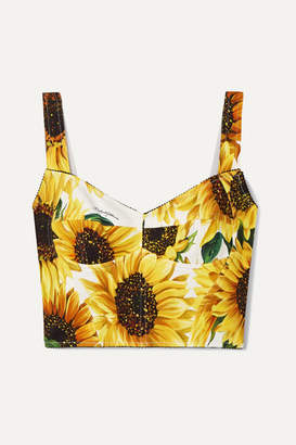 Dolce & Gabbana Cropped Floral-print Cady Bustier Top - Ivory