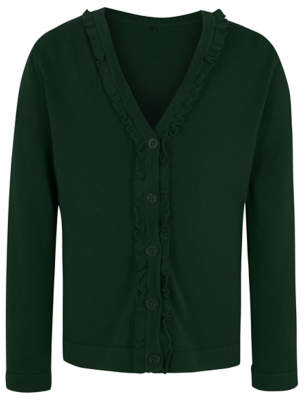 George Girls Bottle Green Ruffle Front V-Neck School Cardigan