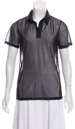 Reed Krakoff Collared Sheer Top