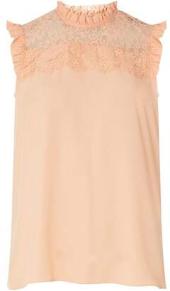 Dorothy Perkins Womens Peach Lace Yoke Sleeveless Top