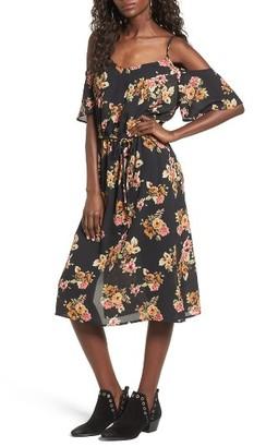 Mimi Chica Stripe Cold Shoulder Dress $55 thestylecure.com