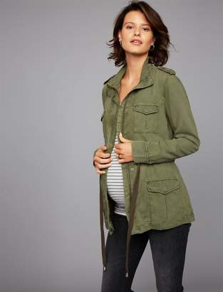 Pea Collection Drawstring Twill Maternity Jacket