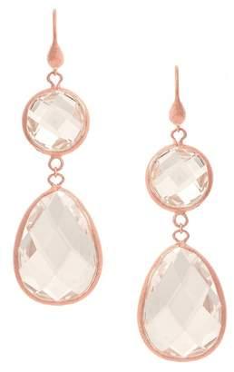 Rivka Friedman 18K Rose Gold Clad Faceted Rock Crystal Satin Teardrop Double Dangle Earrings