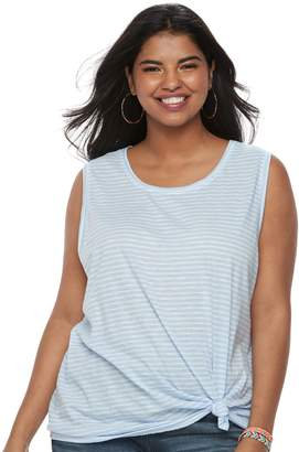 So Juniors' Plus Size SO Knot-Front Tank
