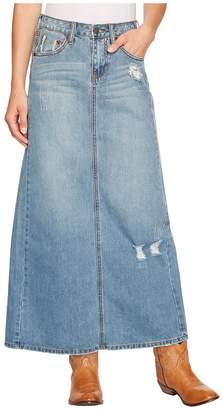 Stetson Long Denim Skirt w/ Back Slit Women's Skirt