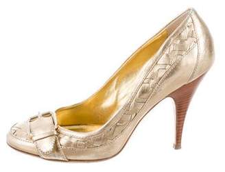 Burberry Metallic Buckle-Accented Pumps