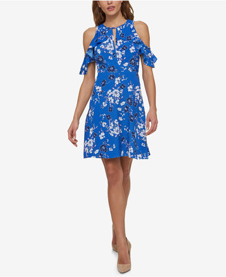 Jessica Simpson Printed Cold-Shoulder Dress $98 thestylecure.com