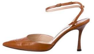Manolo Blahnik Leather Ankle-Strap Pumps
