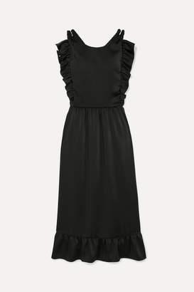 RED Valentino Ruffled Braided Satin Dress - Black