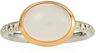 Mimi Milano 18k Milky Quartz Oval & Diamond Ring, Size 7.5