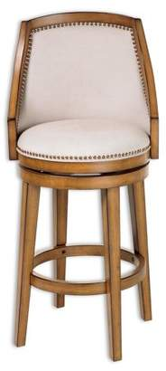 Leggett & Platt Charleston Swivel Seat Counter Stool with Acorn Finished Wood Frame, Putty Upholstery and Antique Brass Nailhead Trim, 26-Inch Seat Height, 2-Pack