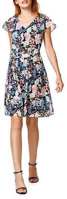 Esprit Floral Flutter-Sleeve Dress