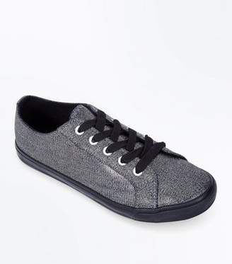 New Look Wide Fit Pewter Metallic Lace Up Trainers
