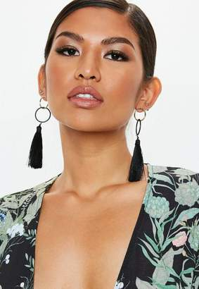Missguided Gold Look Black Double Circle Tassel Earrings