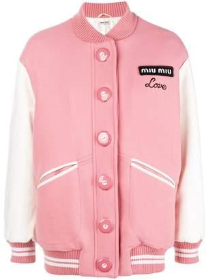 Miu Miu Love embroidered bomber jacket