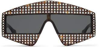 Rectangular-frame acetate sunglasses with crystals