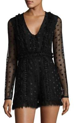 Samira Sheer Dot Long-Sleeve Romper