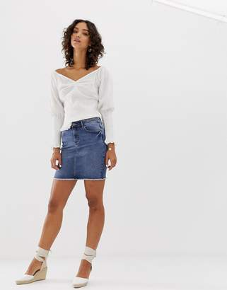485f703c78 Pieces denim mini skirt in blue