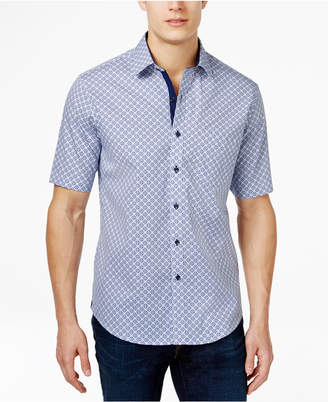 Tasso Elba Men Print Short-Sleeve 100% Cotton Shirt