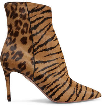 Aquazzura Alma Animal-print Pony Hair Ankle Boots - Leopard print