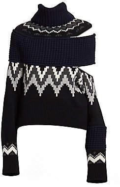 Sacai Women's Fair Isle Asymmetric Zip Sweater