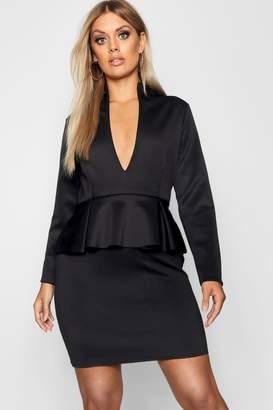 boohoo Plus Peplum High Collar Dress