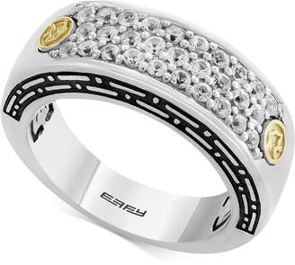 Effy Men White Sapphire Cluster Ring (1 ct. t.w.) in Sterling Silver & 18k Gold
