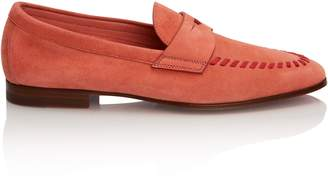 Santoni Stitched Loafer in Pink Suede