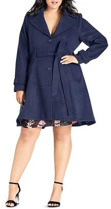 City Chic Plus Flared High/Low Hem Coat