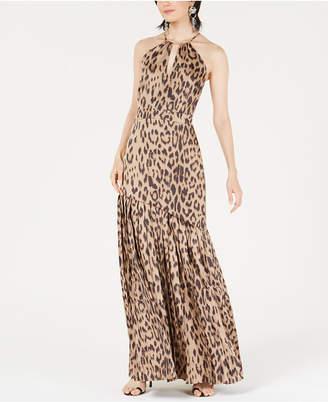 569e2fffa673c Bar III A-Line Leopard-Print Halter Dress