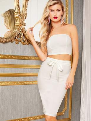 Shein Solid Tube Crop Top & Split Hem Belted Skirt Set