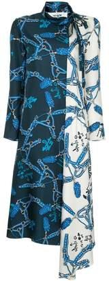 Tibi Renzo scarf print bicolor dress