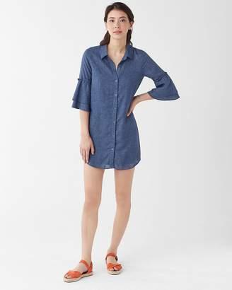 Splendid Chambray Ruffle Sleeve Shirtdress