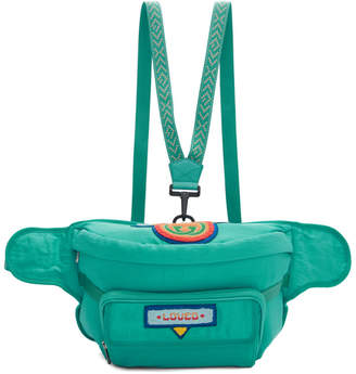 Gucci Blue 80s Logo Patch Belt Bag
