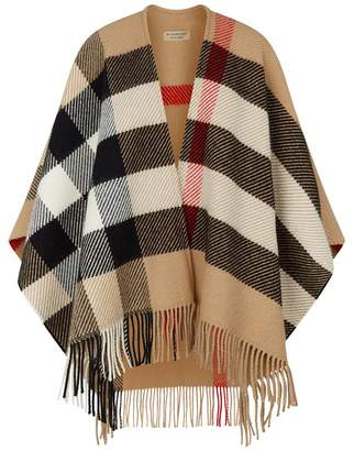 Burberry Wool-Cashmere Mega Check Cape