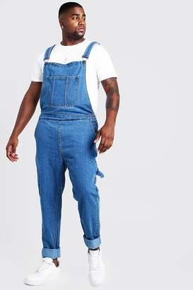 boohoo Big & Tall Slim Fit Rigid Denim Dungarees