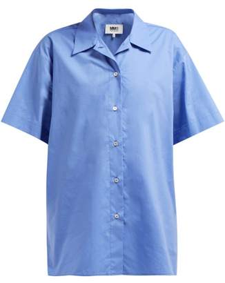 MM6 MAISON MARGIELA Layered Cotton Poplin Shirt - Womens - Blue Multi