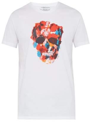 Alexander McQueen Skull Print Cotton T Shirt - Mens - White Multi