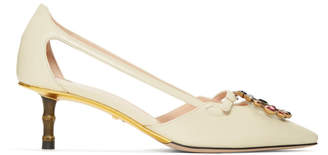 Gucci White GG Crystal Bamboo Unia Heels