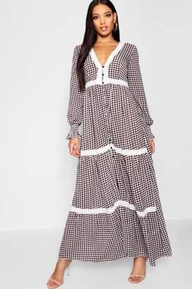 boohoo Plunge Shirred Sleeve Gingham Maxi Dress